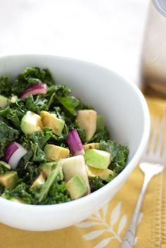Raw Kale, Apple & Avocado Salad