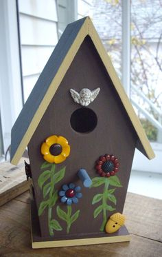 Handpainted Birdhouse with Flower Shaped Buttons by thebuttonlady3, $15.00