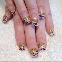 Gel nails Leopard and Glitter Gel Shellac Nails, Nail Polish, Square Gel Nails, Leopard Nails, Art Nails, Nail Arts, Nail Inspo, Art Tutorials, Pretty Nails