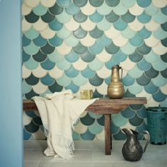 Very lovely Moroccan tile use. Would be perfect in a bathroom.  Wall & Floor Tiles | Fired Earth