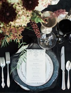 La Tavola Fine Linen Rental: Velvet Black | Photography: Lorely Meza, Event Design & Planning: Vanessa Michelle Co, Florals: Robinson's Flowers, Paper Goods: Jasmin Michelle Designs, Tabletop Rentals: Dish Wish, Furniture Rentals: A1 Rentals