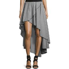 Caroline Constas Adelle Cotton Gingham Skirt (13 000 UAH) ❤ liked on Polyvore featuring skirts, gathered skirt, ruffle hem skirt, elastic waistband skirt, ruched skirt and ruched asymmetrical skirt