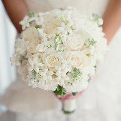 White Rose and Stephanotis Bridal Bouquet // photo by: Robert & Kathleen Photographers //  Bridal Bouquet: Gaye Ford/In Bloom, Spring Lake, NJ // http://www.theknot.com/weddings/album/132372