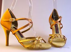 Natural Spin Signature Latin Shoes(Open Toe):  H11138-02_DrTanESGoldPP