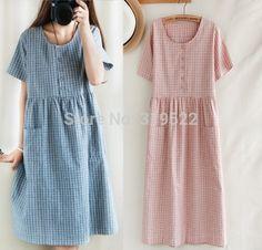 vintage plaid cotton dress