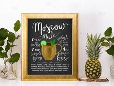 Moscow Mule Chalkboard Cocktail with Recipe - PRINTABLE Wall Art / Cocktails Mixed Drinks Wall Art / Hand Drawn Cocktails / Cocktails Print by RissDesign on Etsy https://www.etsy.com/listing/511024193/moscow-mule-chalkboard-cocktail-with