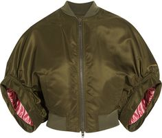 Givenchy Cropped Bomber Jacket in Army-Green Satin