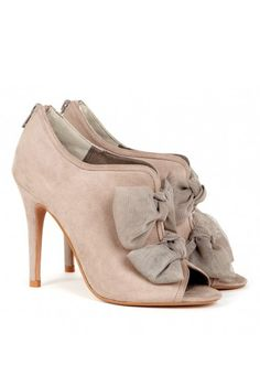 Bow Booties - Taupe