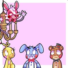 Five nights at Freddy's 2 swing from the chandelier!