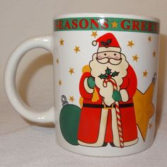 Santa Claus Ornament Holiday Coffee Mug 12 oz Cup  Christmas Signature Stoneware #Signature