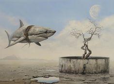 #tertius_van_dyk_art #art #artist #surreal #surrealism #surrealist #surrealistart #modernart #arttrends #trends #painting #painters #oilpainting #canvas #iloveart #southafricanartists #southafrica #hermanus #overberg #southafricanart #artsouthafrica #dali #frieda #salvadordali #moon #shark #sharks #well #ocean # desert
