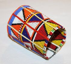 AFRICAN+MAASAI+MASAI+BEADED+TRADITIONAL+ETHNIC+TRIBAL+WIRE+BRACELET+-+KENYA+#08+#Unbranded