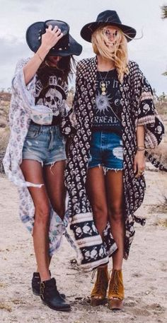 Boho friends in tees, cutoffs, kimonos, hats, and short boots