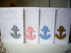 anchor card set anchor thank you cards nautical by JDooreCreations, $7.75