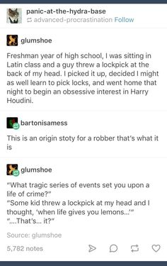 Well…I played a lot of Skyrim too. I mean, honesty, what fantasy-loving, video-game-playing, geek doesn't want to learn to pick locks? Posts Tumblr, My Tumblr, Tumblr Funny, Writing Help, Writing A Book, Writing Tips, Funny Quotes, Funny Memes, Hilarious