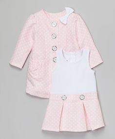 Look at this Pink Drop-Waist Dress & Peacoat - Infant on #zulily today!