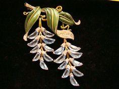 Large Trifari Enamel Floral Brooch | eBay
