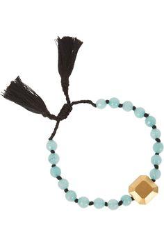IAM BY ILEANA MAKRI Kompoloi gold-plated, jade and cotton bracelet €150.00 http://www.net-a-porter.com/products/505426