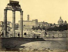 Robert Rive No. 1027. Tempio di Castore e Polluce. Roma 1861 (ca)