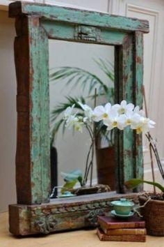 kreative dekoideen altes fenster spiegel