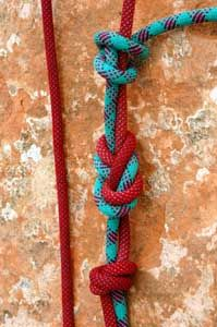 The double figure-8 fishermans knot is  the best knot to tie 2 ropes together for rappelling and rock climbing.