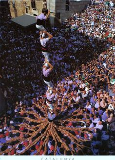Castellers in Catalunya, Spain making a human tower!