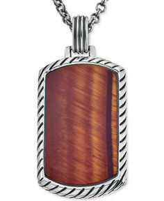 Esquire Men's Jewelry Red Tiger Eye (36 x 20mm) Dog Tag Pendant Necklace in Sterling Silver, First at Macy's