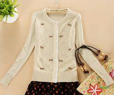 $13.99 Round Neck Bow Pattern Women Cardigan Sweater at Online Apparel Store Gofavor