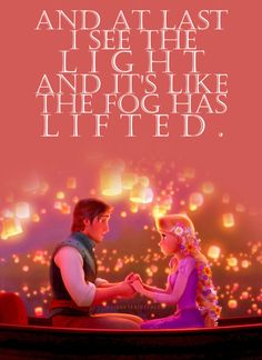 I see the light is beautiful song in Tangled. At last I see the light; and it's like, the fog has lifted. Best Disney Movies, Kid Movies, Disney Films, Disney And Dreamworks, Disney Pixar, Walt Disney, Disney Couples, Disney Tangled, Disney Magic