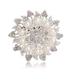 awesome Valdler Fashion Jewelry Imitation Pearls Floral Ivory and Silver-Tone Crystal Brooch Pin Wedding Rhinestone Brooches broach Bling Jewelry Clasps, Jewelry Tree, Old Jewelry, Silver Jewelry, Crystal Brooch, Amethyst Crystal, Crystal Rhinestone, Crocodile, Poppy Brooches