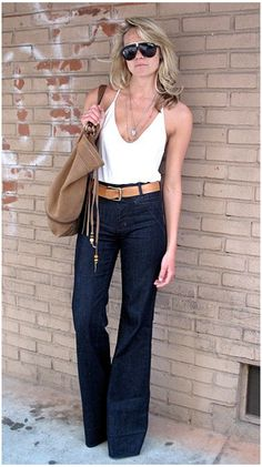 Tank Top, High Rise Wide Leg Jeans, Belt...not sure if I could pull it off but LOVE it!!