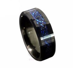 Black and Blue Tungsten Carbide Ring #info:BACK-ORDER-NOTICE:--Orders-that-can't-be-filled-from-our-Las-Vegas-inventory-will-be-processed-on-2/15/16.--Tracking-numbers-will-be-sent-3-5-days-after-being-processed.---Estimated-delivery-time-is-14-31-days. #rings