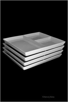 Set 4 Divided Fondue/Raclette/Grill Platters Plates