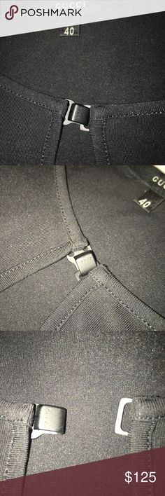 """GUCCI TOP 40 NWOT Black Another GUCCI piece I fell in love with but never wore.  Size 40. No tags but as NEW!   GUCCI black embossed hook in the front slit opening.  Sharp. 26"""" long. 25"""" sleeve. 16"""" shoulder . Fabric shown in pics as well as authenticity. ( some pics lightened to show details ) it's deep dark black. Another piece I can all but guarantee you will NEVER  see on anyone else EVER. I bought many special Gucci pieces. Gucci Tops Tees - Long Sleeve"""