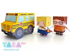 DIY Kit, School Bus, Girl and Boy Printable Kit. So fun! By TaraHandmade en Etsy, $5.70