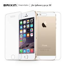 2 pcs/lot Front + Back Premium Tempered Glass for iPhone 5s 5c 5 se  Anti-scratch 0.25D Screen Protector Film for iPhone5 s