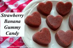 Homemade Strawberry-Banana Gummy Candy Recipe made with health building grassfed gelatin. Easy to make, kid friendly, gluten free healthy snack.