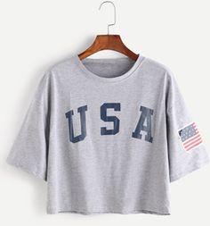 129cb02391f SweatyRocks Women s Letter Print Crop Tops Summer Short Sleeve T-shirt ( Large