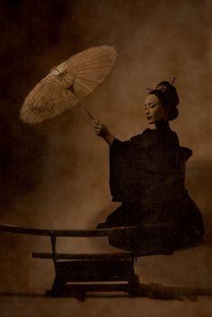 by Sapronov Andrey. Parasol and katana. Geisha, Motifs Textiles, Turning Japanese, Umbrellas Parasols, Under My Umbrella, Warrior Girl, Japan Art, Old Pictures, Vintage Photos