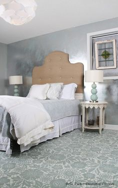 Our sweet Skylar's Lace stencil in a very sexy bedroom. Painted floor by Bella Tucker Decorative Finishes