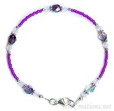"""Ankle bracelet length 8"""" (optional jewelry extender), purple seed beads, violet opal Swarovski Austrian crystals, Bali 925 silver, and sterling silver. Available while supplies lasts."""