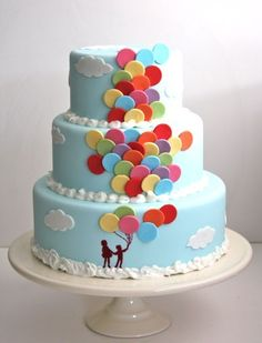 Great inspiration for a balloon birthday theme. Love this cake! #balloon #cake #decorating