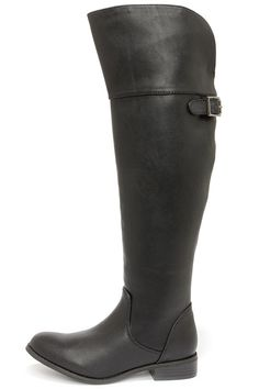 Rider 24 Black Over the Knee Boots at LuLus.com!
