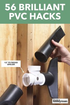 56 Brilliant PVC Hacks What can't you do with PVC pipe? Here are 56 incredibly smart (and cheap!) ways to use this do-it-all material around your home and workshop. Pvc Pipe Crafts, Pvc Pipe Projects, Pvc Pipe Storage, Water Storage, Table Saw Accessories, Garage Organization, Garage Storage, Organization Ideas, Storage Ideas