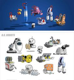 Pixar's Wall-E Robot Concepts Prop Design, Robot Design, Wall E Costume, Robot Cute, Transformers, Wall E Eve, Robot Cartoon, Robots Characters, Robot Concept Art