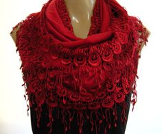 La Boheme..All red... laced and fringed Necklace/Infinity scarf. Love story..  via Etsy.