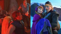 I think, these two moments are very important, because I think in these moments both, Kristoff and Eugene, fell in love without knowing it..♡  Just look at Eugene.. he took Rapunzel to pub to scare her, buy when the situation started to be dangerous, he tried to protect her♡  And Kristoff.. look at his face, he was scared and confused, but he liked that Anna was in his arms, and his smile after she dissappeared from his arms.. he totaly fell in love in this moment♡