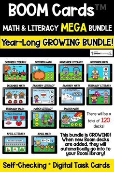 Engage your students and practice MATH AND LITERACY SKILLS with these year-long monthly Boom Cards! This GROWING Math and Literacy MEGA bundle covers a variety of skills including letter sounds and recognition, CVC word reading, rhyming, syllables, sight words, numbers to 20, addition, and more! Perfect for Kindergarten, Preschool, and First Grade! They are perfect for centers, independent work time, small group instruction, and distance learning.