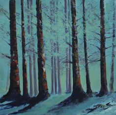 Trees in Glen Ashdale  by Scottish contemporary landscape painter J Mackintosh