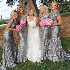 Plus Size silver Shining Sequin Bridesmaid Dresses Sexy Backless Long Wedding Party Gowns Simple Maid of Honor Dress. Silver Wedding Guest Dresses, Silver Grey Bridesmaid Dresses, Country Bridesmaid Dresses, Bridesmaid Dresses Under 100, Bridesmade Dresses, Mermaid Bridesmaid Dresses, Wedding Party Dresses, Party Gowns, Wedding Car